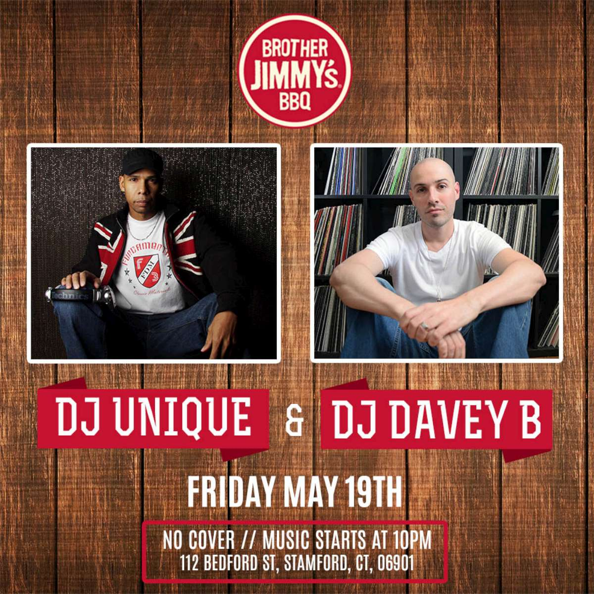 DJ Davey B and DJ Unique at Brother Jimmy's Stamford